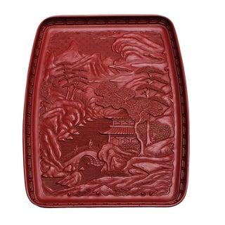 Red Japanese Tray - Pagoda Landscape Scene