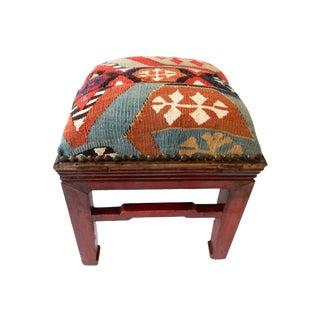 Antique Kilim Upholstered Stool