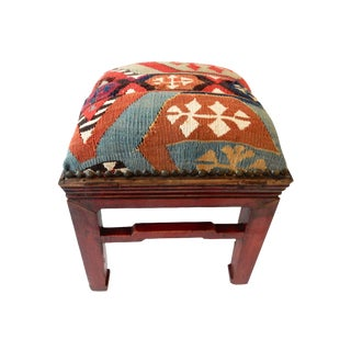 Antique Kilim Upholstered Stool
