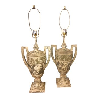 Vintage Classical Composite Urn Lamps - A Pair