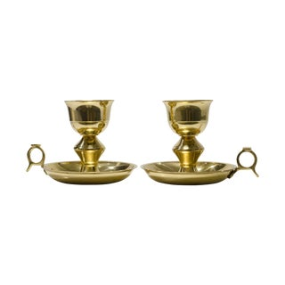 Vintage Brass Candlesticks with Handles - A Pair