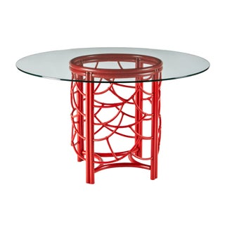 Selamat Designs Antique Red Glass Top Dining Table