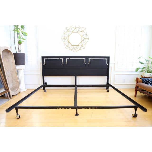 Mid-Century Modern Black King Size Bed - Image 2 of 5