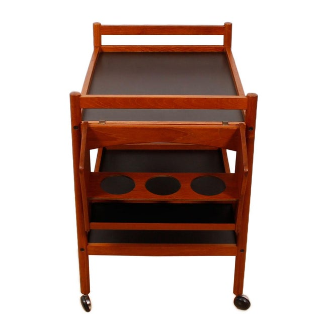 Danish Teak Bar Cart With Removable Wine Caddy - Image 2 of 10