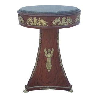 French Insert Round Mahogany Marble Top Pedestal Table With Ormolu Mounts