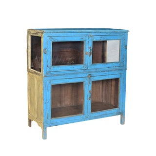 Vintage Painted Blue Display Cabinet