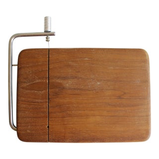 Vintage Good Wood Teak Cheese Slicer Cheese Board Cutting Board Tray Mid Century Modern