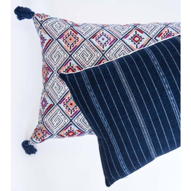 Vintage Striped Ikat Indigo Pillow - Image 3 of 8