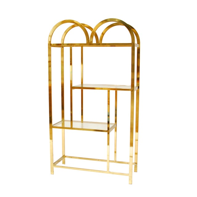 Image of Hollywood Regency Brass Arched Etagere
