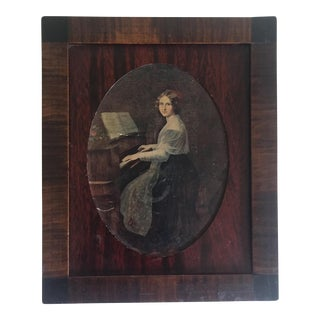 1800's Antique Wood Pianist Portrait Letter Box