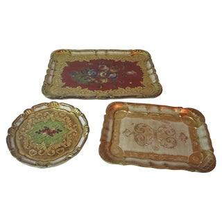 Italian Florentine Trays - Set of 3