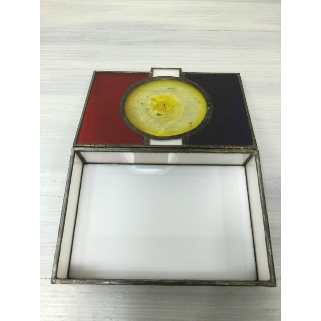 Vintage Mondrian Colored Blown Glass Box - Image 5 of 9