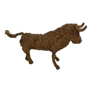 Vintage Hand Woven Straw Bull