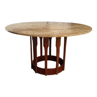 John Keal Walnut & Travertine Dining Table