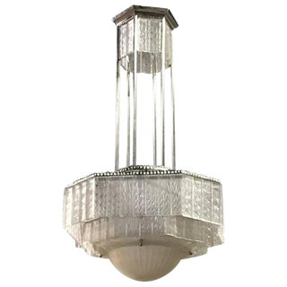 G. Leleu Signed French Art Deco Geometric Chandelier