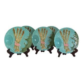 Pinheiro Majolica Asparagus Plates - Set of 5