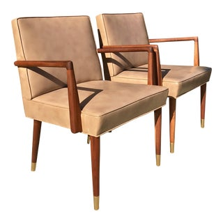 Mid-Century Arm Chairs in the Style of Jens RIsom - a Pair