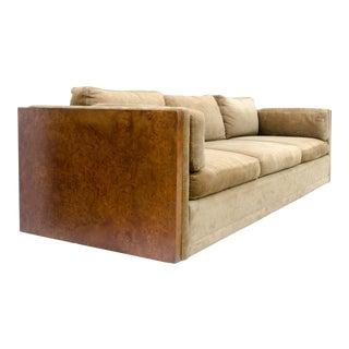 Milo Baughman Style Burl Wood Sofa
