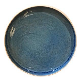 Contemporary Shallow Blue & White Bowl