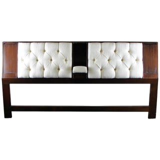 Dark Mahogany Headboard with Reading Lights and Armrest by Harvey Probber, 1965
