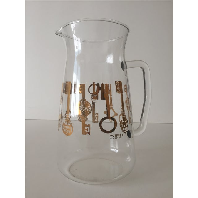 Vintage Pyrex Glass Gold Key Beverage Pitcher - Image 3 of 10