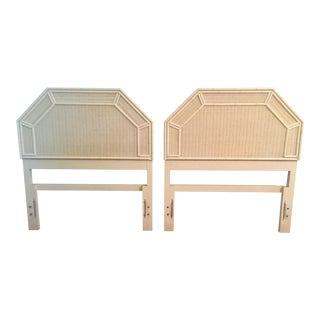 Vintage Faux Bamboo White Wicker Geometric Twin Headboards - a Pair