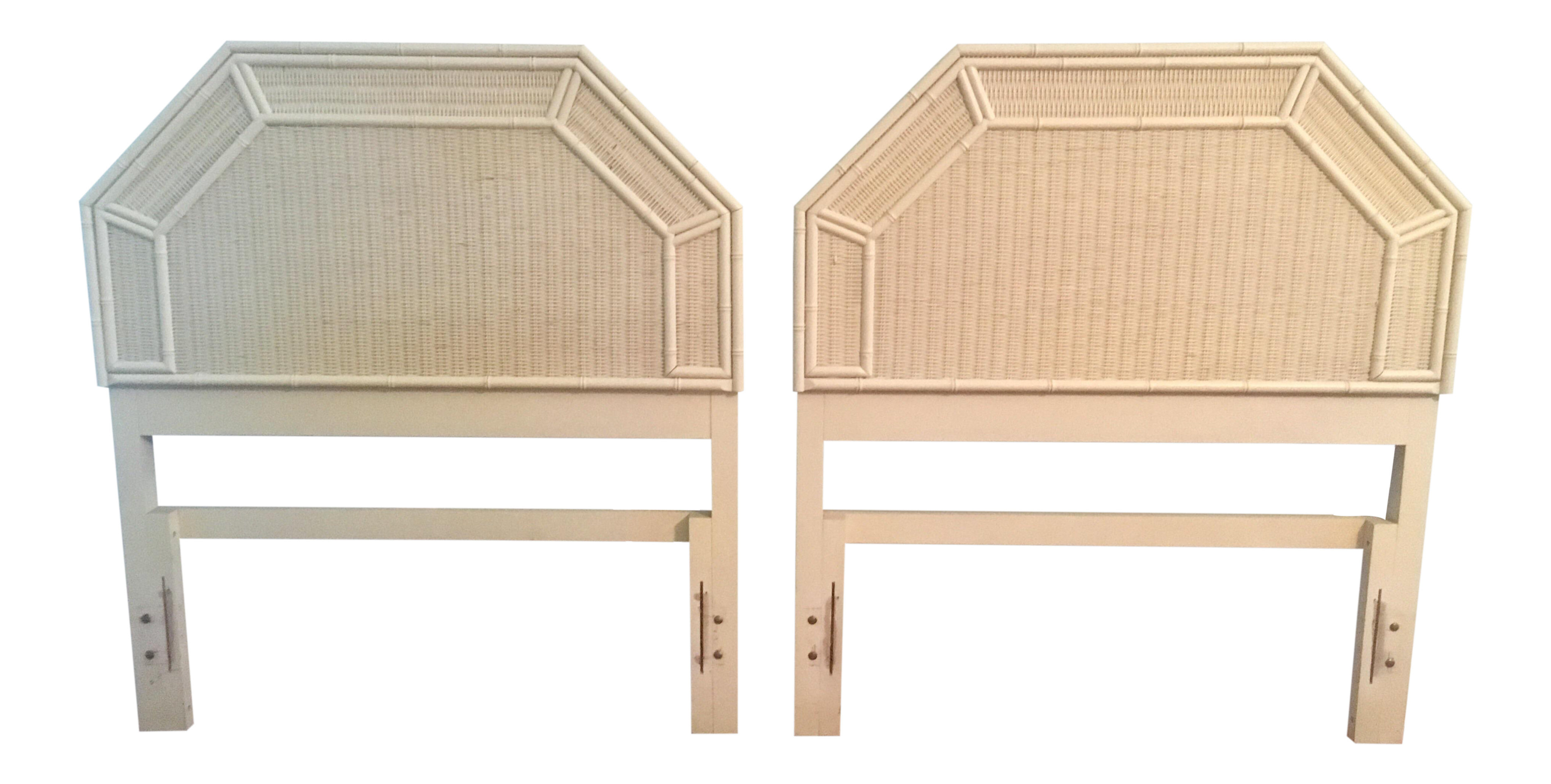 Vintage Faux Bamboo White Wicker Geometric Twin Headboards   A Pair