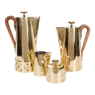 Tommi Parzinger for Dorlyn Silversmiths Coffee/Tea Service in Brass and Walnut