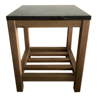 Pottery Barn Marble Top Reclaimed Wood Side Table
