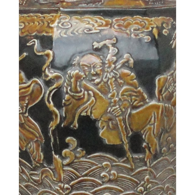 Chinese Eight Immortals Octangle Porcelain Vase - Image 5 of 10