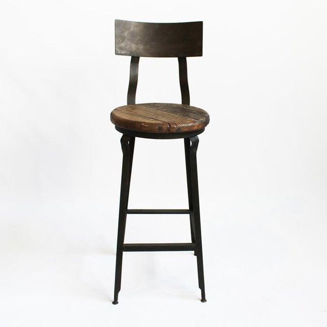 Reclaimed Wood & Iron Bar Stool - Image 2 of 3