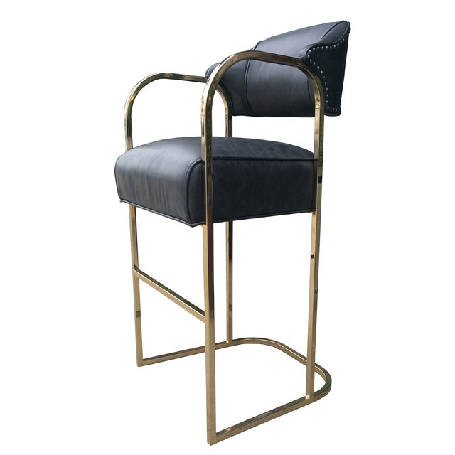 Image of Empiric Leather Lawatch Bar Stools - A Pair