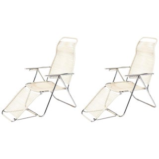 Vintage French Adjustable Chaises Lounges- A Pair