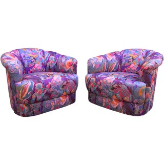 Milo Baughman Abstract Silkscreened Swivel Chairs - A Pair