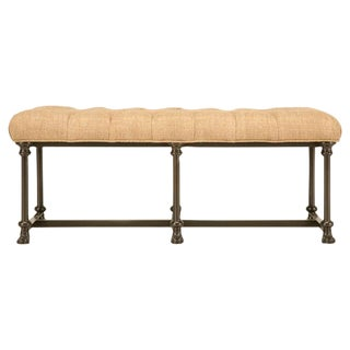 Custom Bench with Steel Frame and Tufted Seat
