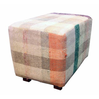 Rectangular Footstool in Orange, Brown, and Gray
