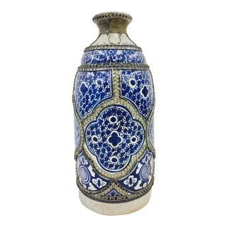 Antique Silver & Hand Painted Terra-Cotta Vase