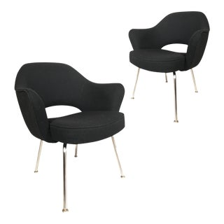 Knoll Eero Saarinen Executive Armchairs in Knoll Black Upholstery - a Pair