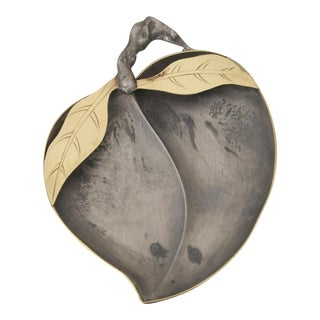 Peach-Shaped Brass & Pewter Catchall