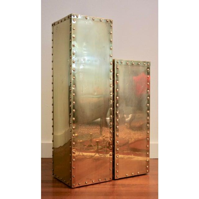 Sarreid-Style Brass Studded Pedestals - A Pair - Image 2 of 11