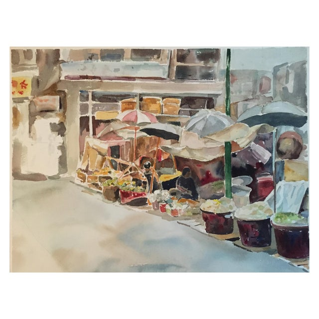 Thelma Moody Gouache Farmer's Market Painting - Image 1 of 7