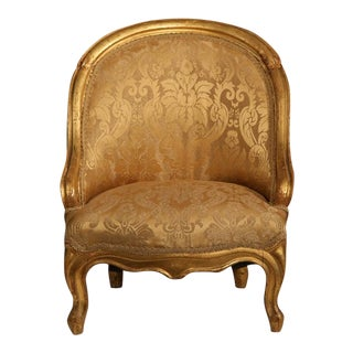 19th Century French Reupholstered Louis Philippe Child Armchair With Gilt Finish