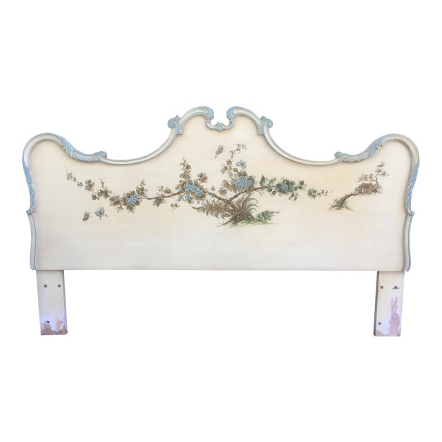 Asian Style Hand Painted King Headboard - Image 1 of 7