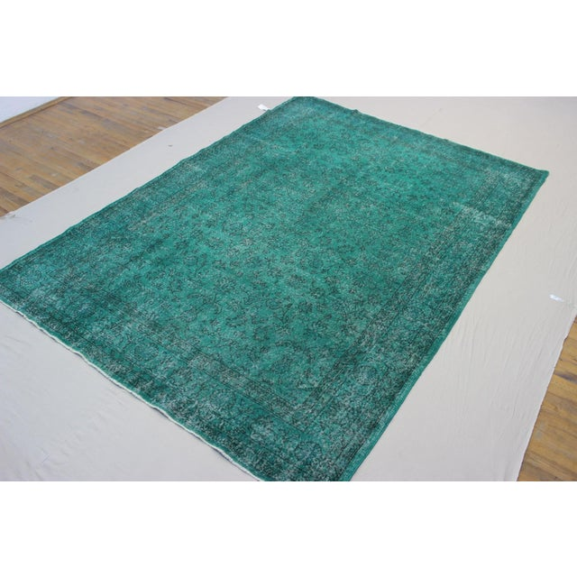 """Vintage Over-Dyed Teal Rug - 7'6"""" x 10'9"""" - Image 7 of 9"""
