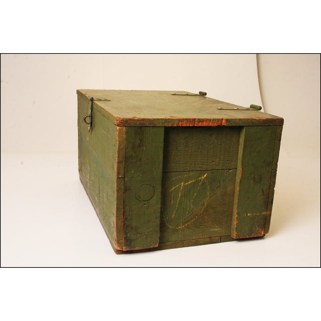 Vintage Distressed Green Military Trunk - Image 4 of 11