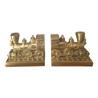 Vintage Brass Train Bookends - a Pair