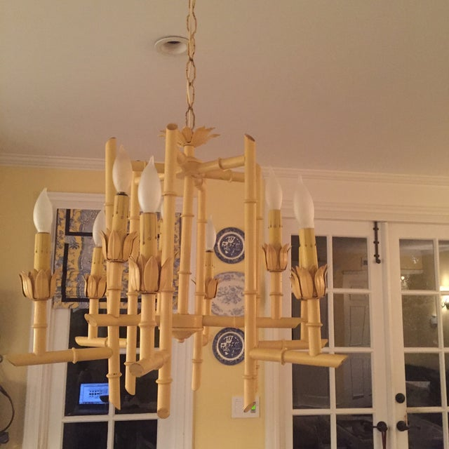 Vintage Yellow Faux Bamboo Chandelier - Image 2 of 3