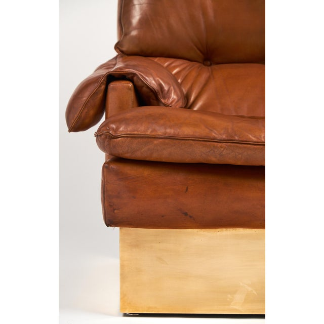 Image of Modernist French Leather & Brass Armchair with Ottoman