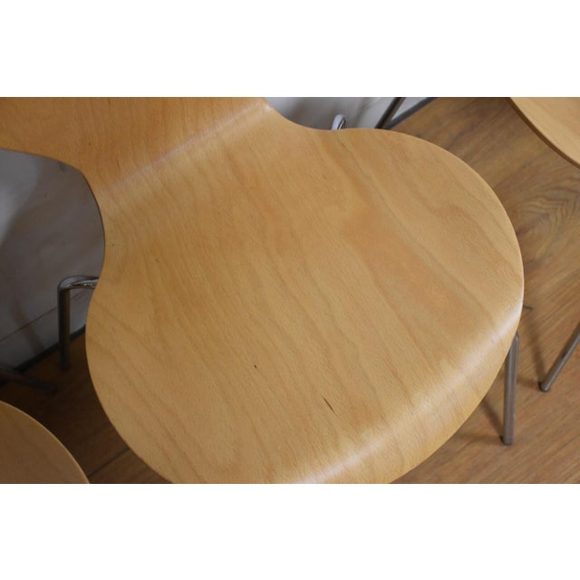 Arne Jacobsen Style Birch Dining Chairs - Set of 4 - Image 4 of 11