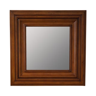 Square Wood Frame Beveled Wall Mirror